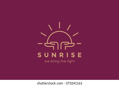 Hands holding Sun rising Logo design vector template linear style. Sunrise Sunset Religion Church Pray Logotype concept. Foundation concept icon.