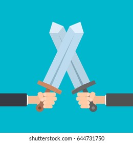 hands holding swords. Vector illustration battle on swords