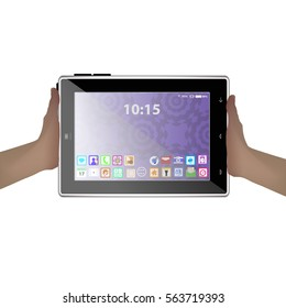 hands holding a tablet computer. icon. Illustration. Use for Website, phone, computer printing fabric decoration design etc