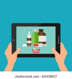 Hands holding a tablet. Drug screen concept of online pharmacy vector illustration in flat style