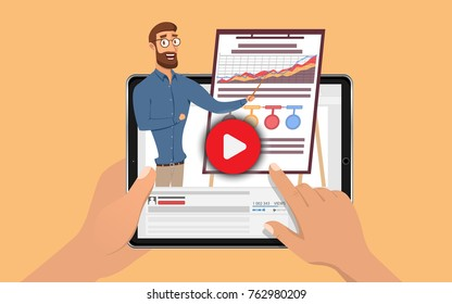 Hands holding tablet with hansome influencer business man. E Learning by the webinar training. Online education at Video blog concept. Vector Illustration