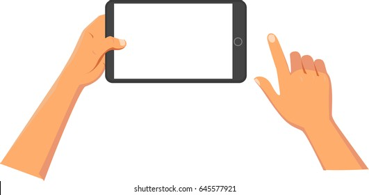 Hands holding tablet or other digital devices.