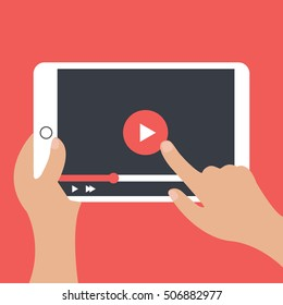 hands holding a tablet with play icon illustration isolated in a red background