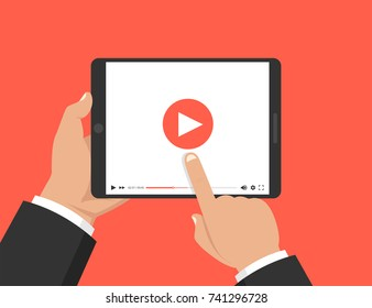 Hands holding tablet and touching screen. Video player on screen. Vector illustration.