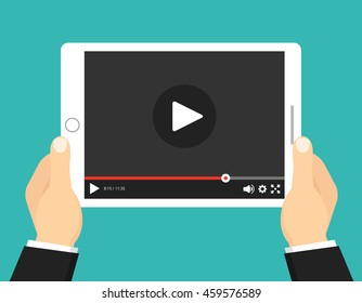 Hands holding tablet with video player on screen. Vector flat illustration.