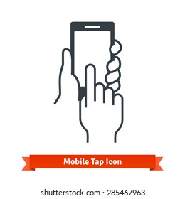 Hands holding, touching, tapping or scrolling black phone blank screen. Vector icon.