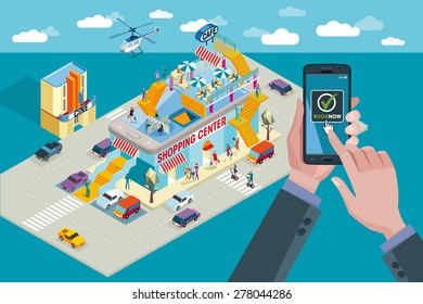 Hands holding touchscreen smart phone. Mobile applications for booking and buying. Behind a shopping center in isometric perspective and people buying.