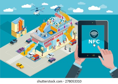 Hands holding touchscreen smart phone. Mobile applications and NFC icon. In the background a Shopping Center in Isometric view with people shopping.