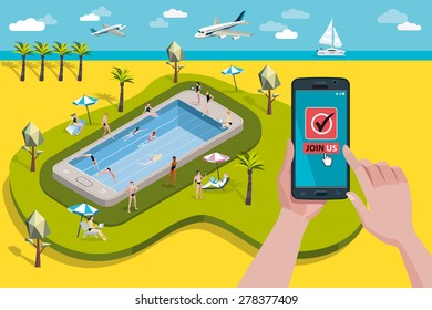 Hands holding touchscreen smart phone and tablet. Mobile applications for booking.  At the background, a paradise Swimming pool in a giant smart phone with men and women enjoying their vacations.