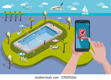 Hands holding touchscreen smart phone. In the screen a mobile applications for booking.  At the background, a paradise Swimming pool in a giant smart phone, with people enjoying their vacations.