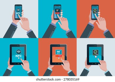 Hands holding touchscreen smart phones and tablets. Mobile applications for booking, buying and NFC.