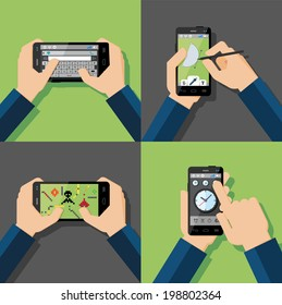 Hands holding touchscreen smartphones with applications on screens. Message, drawing, games, clock. Vector illustration.