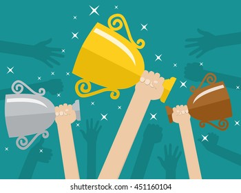 Hands holding trophies winner cups. Sporting achievements, the championship victory. Vector illustration in flat style on green background