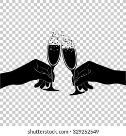 hands holding two champange glasses vector icon - black illustration