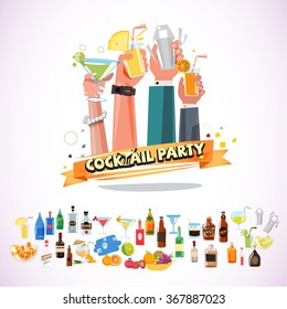 Hands holding various glasses of cocktail with ribbon. cocktail party concept with icon set - vector illustration