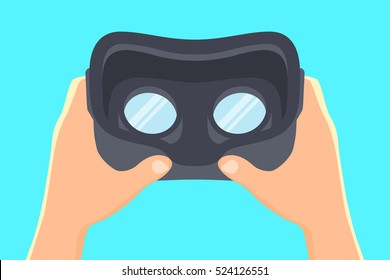 Hands holding virtual reality headset. Vector illustration