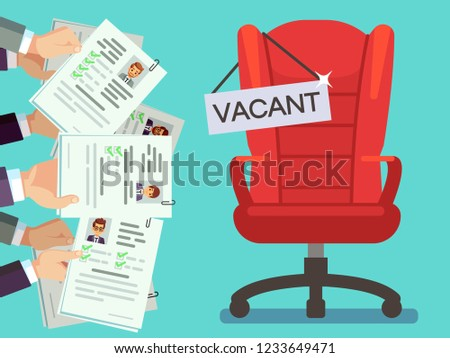 hands holds cv forms office chair stock vector royalty free