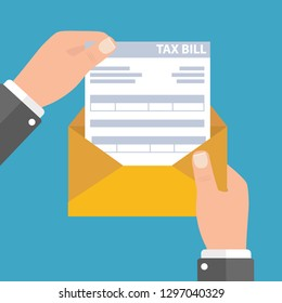 Hands holds envelope with tax declaration paper document. Tax day. Vector illustration in flat style - Vector illustration