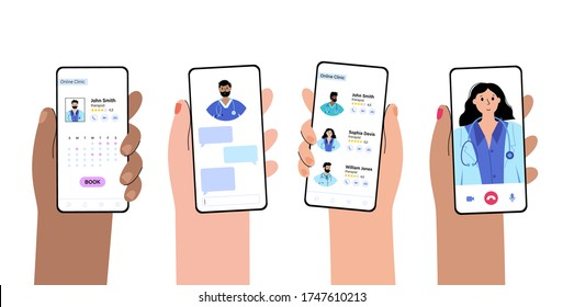 Hands holds phones with online clinic app. Booking doctors. Team of specialists is ready to help. Flat vector illustration. Medical poster, consult from home. Adult male and female cartoon characters