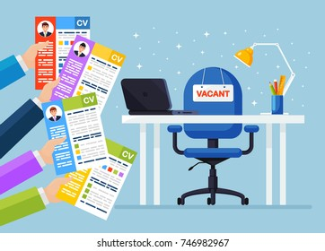 Hands holds resume, CV form isolated on background. Office chair with vacancy sign. Business hiring and recruitment, job competition concept. Human resources management. Vector flat illustration