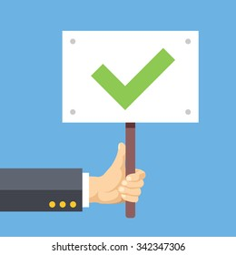 Hands holds sign with green tick. Satisfaction, acceptance. Flat design concepts for web banners, web sites, printed materials, infographics. Flat vector illustration isolated on blue background