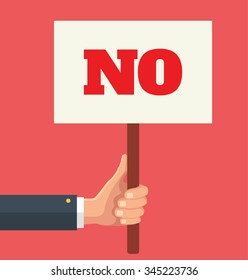 Hands holds sign with NO word. Social protest. Vector flat illustration