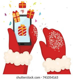 Hands holds a smart phone, online shopping, Christmas illustration, vector.