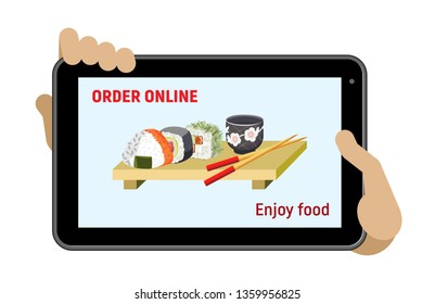 The hands holds the tablet. Order food delivery online. Tablet, sushi image and a titles. Isolated object on a transparent background.