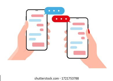 Hands holing smartphone with speech bubble. Using smart phone for text messaging
