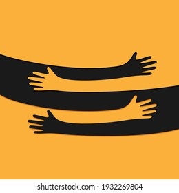Hands hugs abstract simple vector illustration