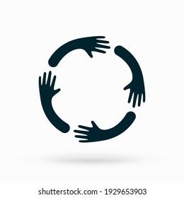 Hands hugs in circle shape vector illustration