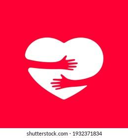 Hands hugs heart shape vector illustration