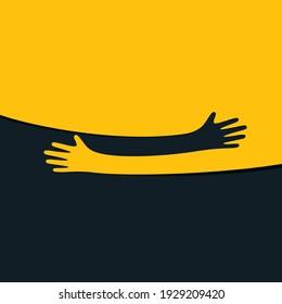 Hands hugs simple vector illustration