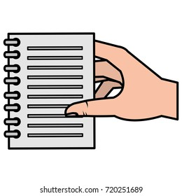hands human with notebook paper isolated icon