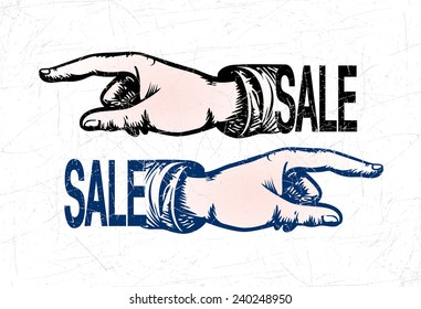 Hands of the human on white background. Pointing finger. Vector drawing. Hand banner. Hand arrow.