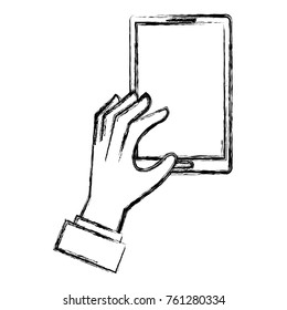 hands human with smartphone device