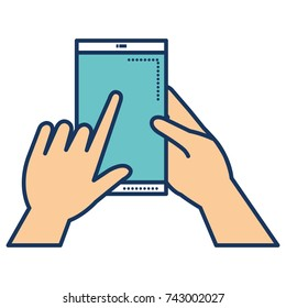 hands human with smartphone device isolated icon