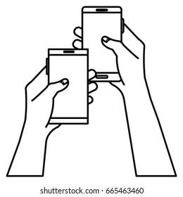 hands human with smartphones device isolated icon
