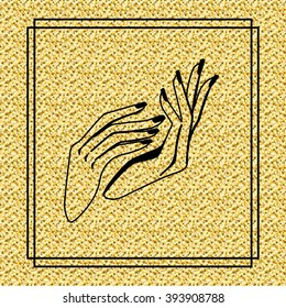 Hands icon on gold texture illustration