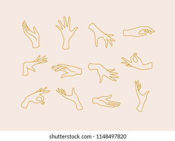 Hands icons drawing in flat style with brown lines on beige background