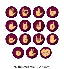 Hands icons set 1