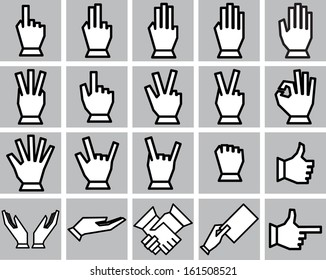 Hands icons set. Vector. Eps 10.