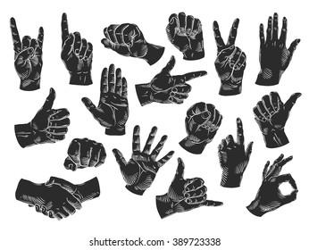 hands icons set. vector illustration