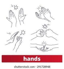Hands icons: thin lines signs vector set. Applause, fist bump, high five.