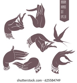 Hands in Indian style. Vector set.