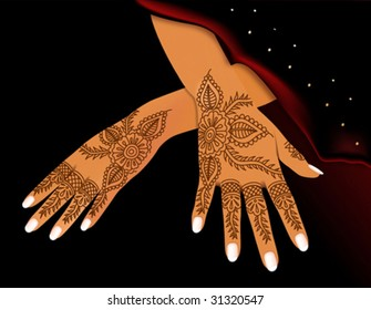 hands of Indian woman with a decorative pattern by the inflicted henna on a black background