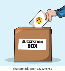 Hands insert paper with a smile image to give happy feedback in the suggestion box vector illustration