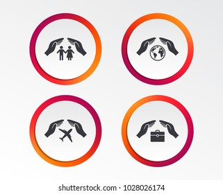 Hands insurance icons. Human life insurance symbols. Travel flight baggage symbol. World globe sign. Infographic design buttons. Circle templates. Vector