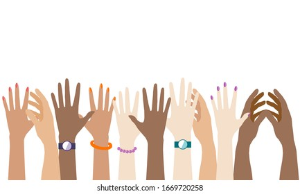 There're a lot of hands isolated on white background. There's a copy space for your text.