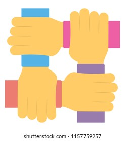 Hands are joined tightly to represent helping hands concept